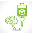 creative brain Idea symbol charged by eco batterY vector image vector image