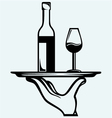 Bottle of wine with a glass on a tray vector image vector image