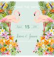 Wedding Card Tropical Flowers Flamingo Bird vector image