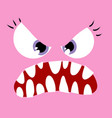 angry pink monster close up vector image