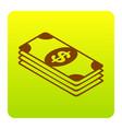 bank note dollar sign brown icon at green vector image