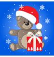 christmas teddy vector image