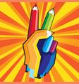 color pencil hand vector image