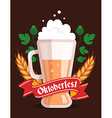 colorful of big mug of yellow beer with ears vector image