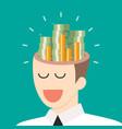 pile of money in businessman head vector image