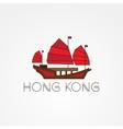 Tourist junk the symbol of gonkong harbour Modern vector image