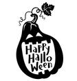 Happy Halloween lettering with pumpkin vector image