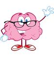 Smiling Brain Teacher Waving For Greeting vector image vector image