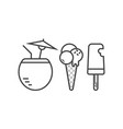 beach cocktail and ice cream icons vector image