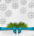 New Year background with bow ribbon and fir vector image vector image