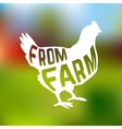 Silhouette of farm Hen with text inside on blur vector image