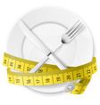 crossed spoon and fork plate Diet metr 03 vector image vector image