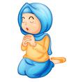 Muslim girl praying vector image