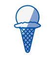 blue shading silhouette of ice cream ball in cone vector image