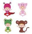 Cute baby in fantasy costumes set vector image