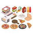 isometric pizzeria icon set vector image