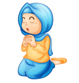 Muslim girl praying vector image