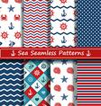 Set of sea seamless patterns vector image