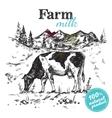 Cow Farm Landscape Poster vector image