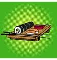 Sushi rolls pop art style vector image