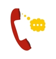 Red handset and speech cloud flat icon vector image
