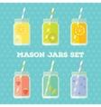 Flat set of mason jar vector image