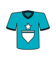 color image cartoon blue soccer t-shirt sport wear vector image