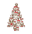 colorful pattern of christmas faces silhouettes in vector image