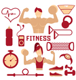 flat design of fitness with guy girl and web icons vector image