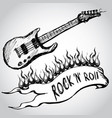 guitar flames rock and roll vector image