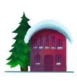 snow-covered brick house in the winter vector image