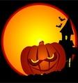 Evil Halloween Pumpkin Scene vector image