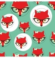 Seamless background with foxes faces in glasses vector image