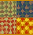 seamless pattern leafs set in puzzle style vector image
