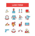 Law firm thin line icons linear vector image