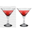 Transparent and opaque full martini glasses vector image