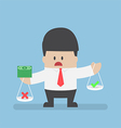 Businessman holding scale with money on his hands vector image