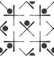 Crossed baseball bats and ball icon pattern vector image