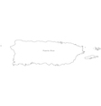 Black White Puerto Rico Outline Map vector image vector image