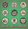 Baseball World Champions Labels and Icons vector image