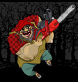 cartoon terrible and cheerful man with a chainsaw vector image