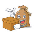 with box sack character cartoon style vector image