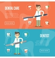 Dental website templates with male dentist vector image