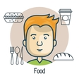 avatar man with food design vector image