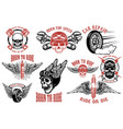 born to ride set of the emblems with racer skulls vector image