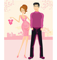 beautiful pregnant woman and her happy husband vector image