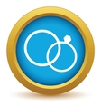 Gold wedding rings icon vector image