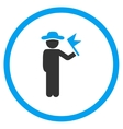 User With Flag Circled Icon vector image