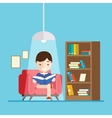boy reads a book while sitting on the couch vector image