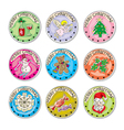 merry christmas sticker collection vector image